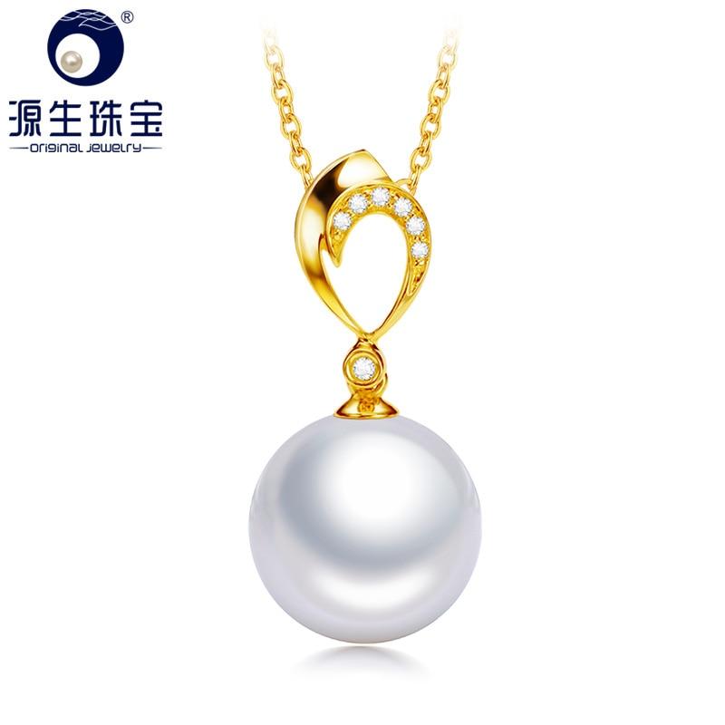 Colgante de oro sólido de 18K con diamante Real de YS, colgante de perla Edison de agua dulce Natural de 10-13mm