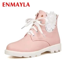 enmayla low heels flowers lace up ankle boots round toe women boots white pink black new square heel platform boots women shoes