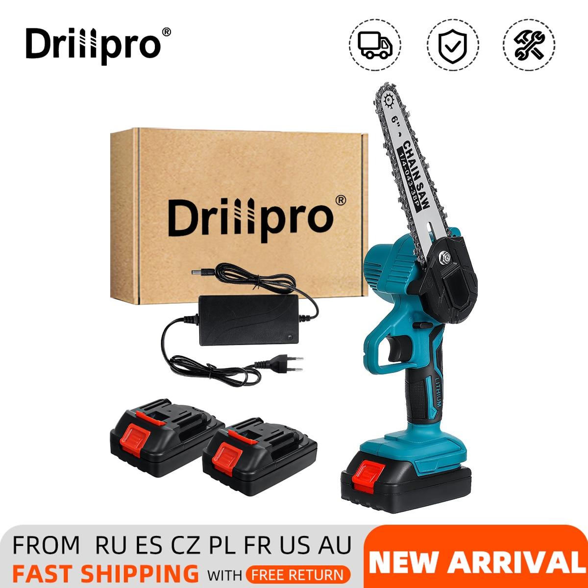 Drillpro-منشار كهربائي لاسلكي ، 6 بوصات ، منشار تقليم ، تشذيب شجرة الحديقة ، قاطع نجارة لبطارية Makiita 18 فولت