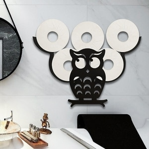 Black Owl Toilet Paper Holder Wall-Mount Bathroom Iron Storage Standing Crafts Ornaments Kitchen Paper Roll Holder Decor
