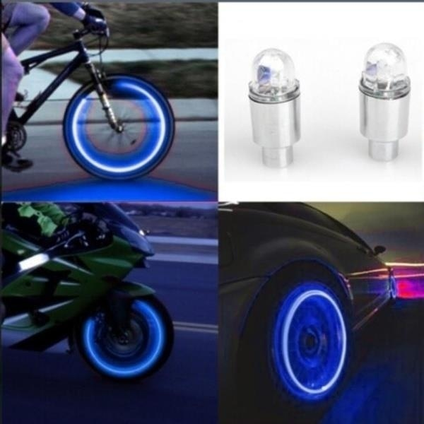 LED Bike Wheel Spoke Lights Lamp Tyre Tire Nozzle Valve Caps Lamp Cycling Warning Head Rear Light For Car Motorcycle or Truck