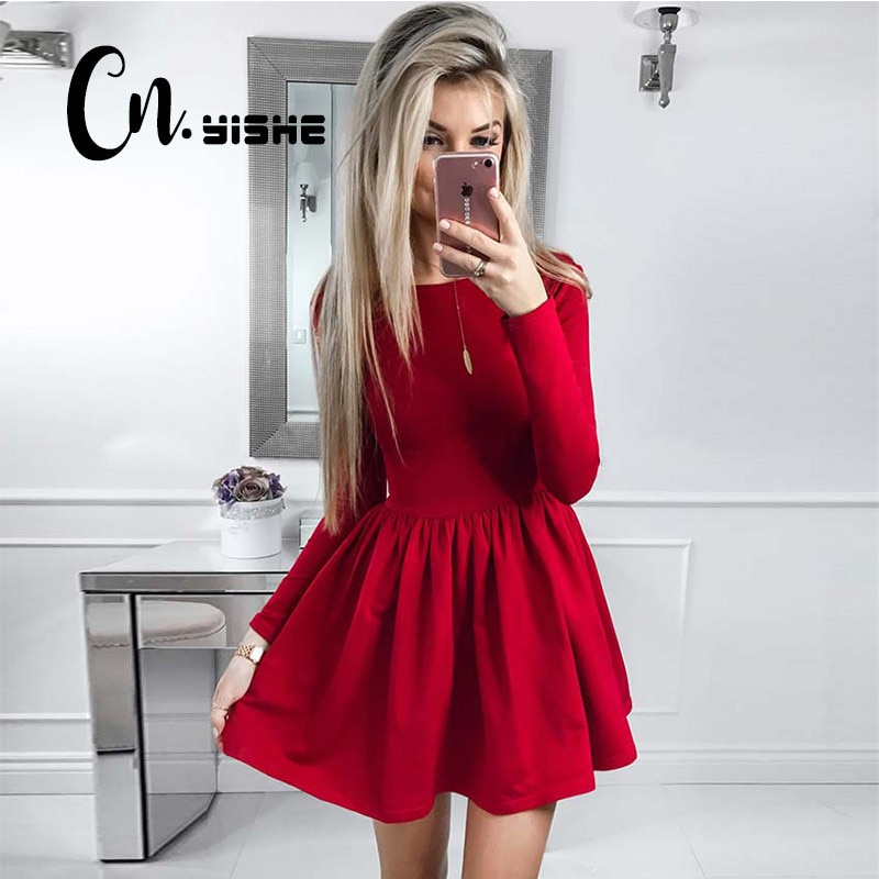 CNYISHE 2019 moda Casual Vestido Rojo Negro mujer sólido manga larga Sexy Delgado A-line Vestido Mujer Mini Vestidos otoño nuevo
