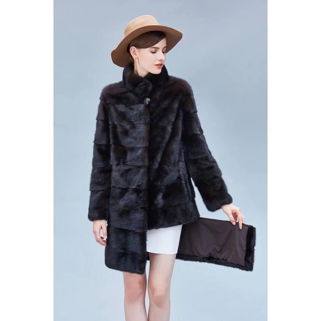 فرو منك معطف المرأة معطف الفرو الطبيعي معطف فرو منك حقيقي المرأة معطف الفرو الحقيقي طويل السيدات ملابس شتوية XL