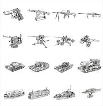 Char militaire navire pistolet 3D métal Puzzles destructeur canot de sauvetage voiture modèles Kits découpe Laser assembler puzzle adulte cadeaux jouets Collection