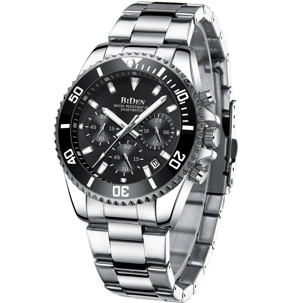 بايدن-ساعة رجالية فاخرة ، ساعة يد فولاذية ، رياضية ، عسكرية ، مقاومة للماء ، كوارتز ، 2021