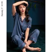 Pajamas WOMEN\'S Summer Silk Ice Silk Short Sleeve Pants Tracksuit Summer Thin Imitated Silk Fabric WOMEN\'S Two-Piece Suit