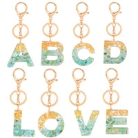 resin english key ring gold foil drop gum 26english words pendant hanging ornaments popular european and american stone ornament