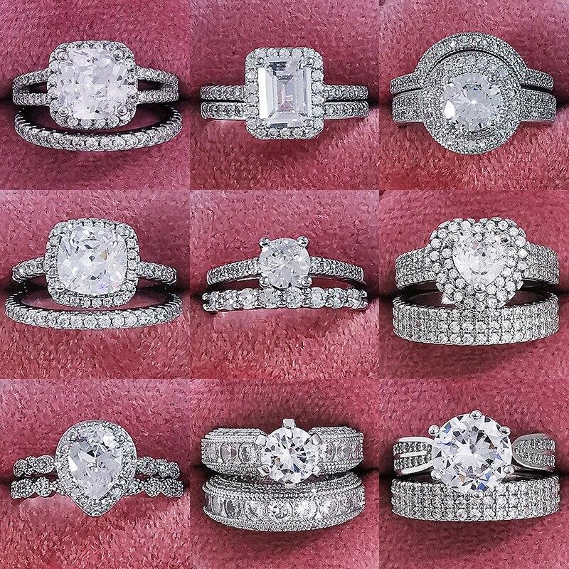 Conjunto de anillos de boda para mujer de lujo de Plata de...