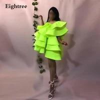 eightree fluorescent green short saudi arabia puff sleeves prom evening dresses elegant dubai formal party night gowns dress
