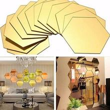 HiMISS 3D Hexagon Acrylic Mirror Wall Stickers DIY Art Wall Decor Stickers Living Room Mirrored Sticker Gold Home Decor