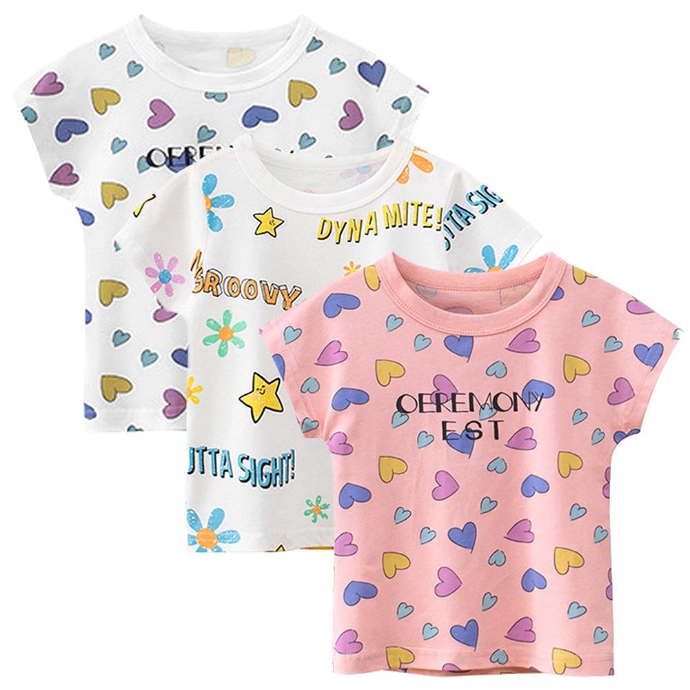3pcs Kids Girls Short Sleeve Shirts Cotton T-Shirt Print Boys Beach Tees Casual Clothing Children Summer Costume Breathable Tops