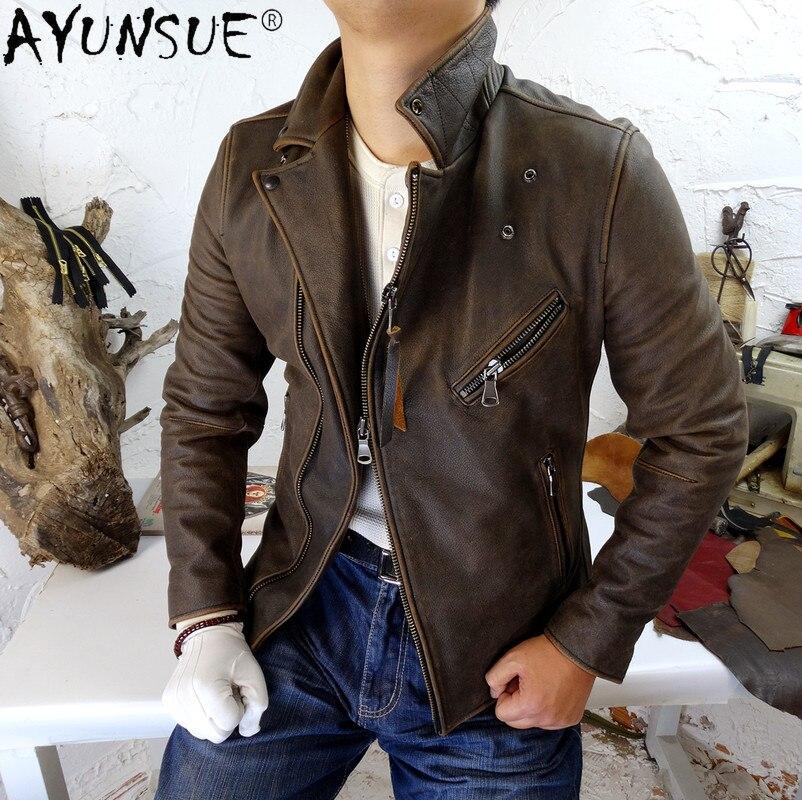 AYUNSUE-سترة جلدية عتيقة للرجال ، ملابس للربيع والخريف 2021 ، معطف من جلد البقر للدراجات النارية ، مقاس كبير 4xl