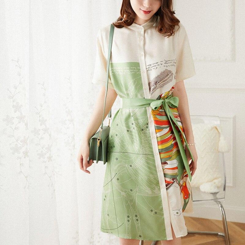 العلامة التجارية الجديدة الراقية كلمة فستان حريري مطبوع بأكمام قصيرة فضفاضة المرأة التوت الحرير