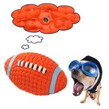Durable Latex Pet Squeak Spielzeug Rugby Stil Mini Kleine Medium Large Hund Interaktive Spielzeug Kauen Haustier Hund Spielzeug S/ L