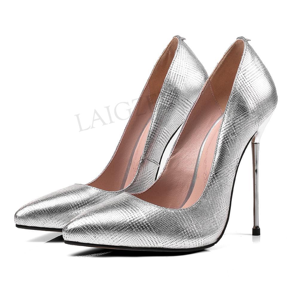 LAIGZEM 2020 CHIC Women Heels LEATHER 11-13CM Pumps Metal Silver Sandals Stiletto Party Dress Shoes Woman Big Size 39 42 43