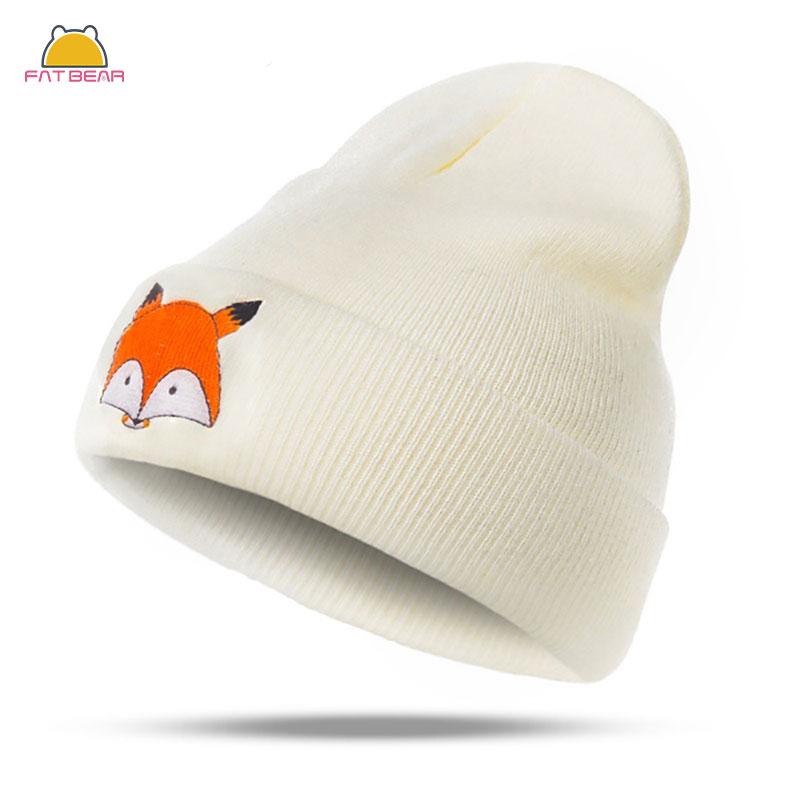 Gorro de punto para bebé bordado con zorro recién nacido turbante gorro cálido gorro suave para niños niñas niños gorro elástico Otoño Invierno