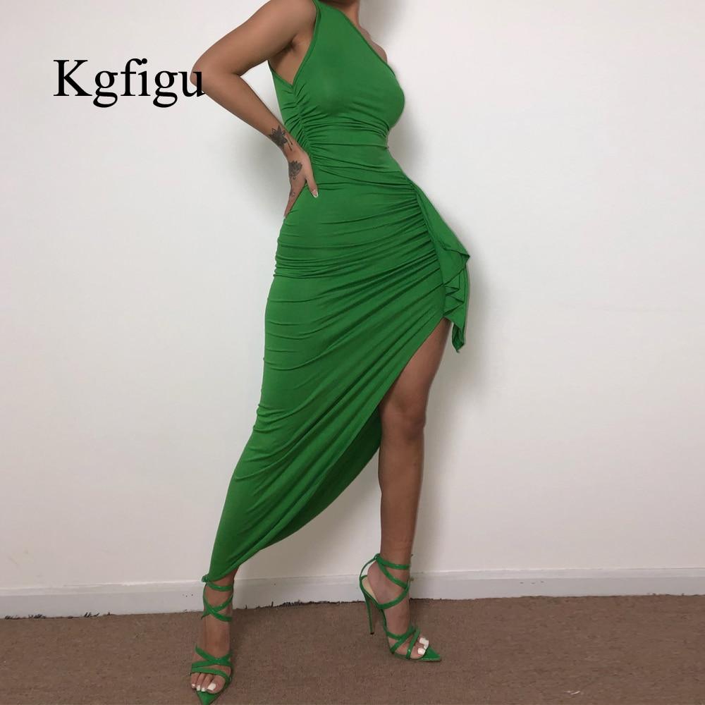 KGFIGU 2019 New Solid One Shoulder Split Bandage Summer Dress Women Slim Fit Sexy Long Dress Casual Maxi Dress Party