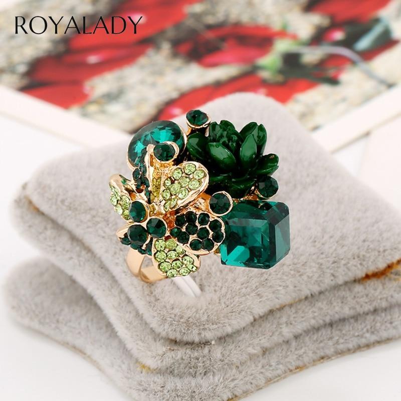 Nuevo hermoso anillo abierto de cristal de flor de Rosa anillo Vintage de resina colorida rojo azul verde cubo circón Glamour anillo de compromiso nupcial