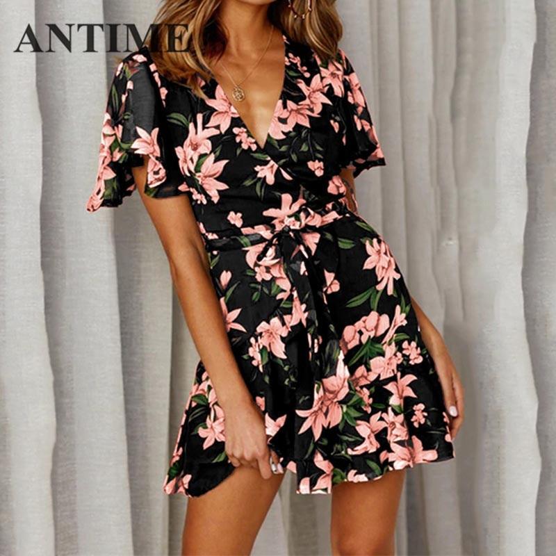 ANTIME Dress Sash A Line Print Flowers Short Sleeve Women Casual Spring Summer Deep V Neck New Generous Mini Floral Dresses