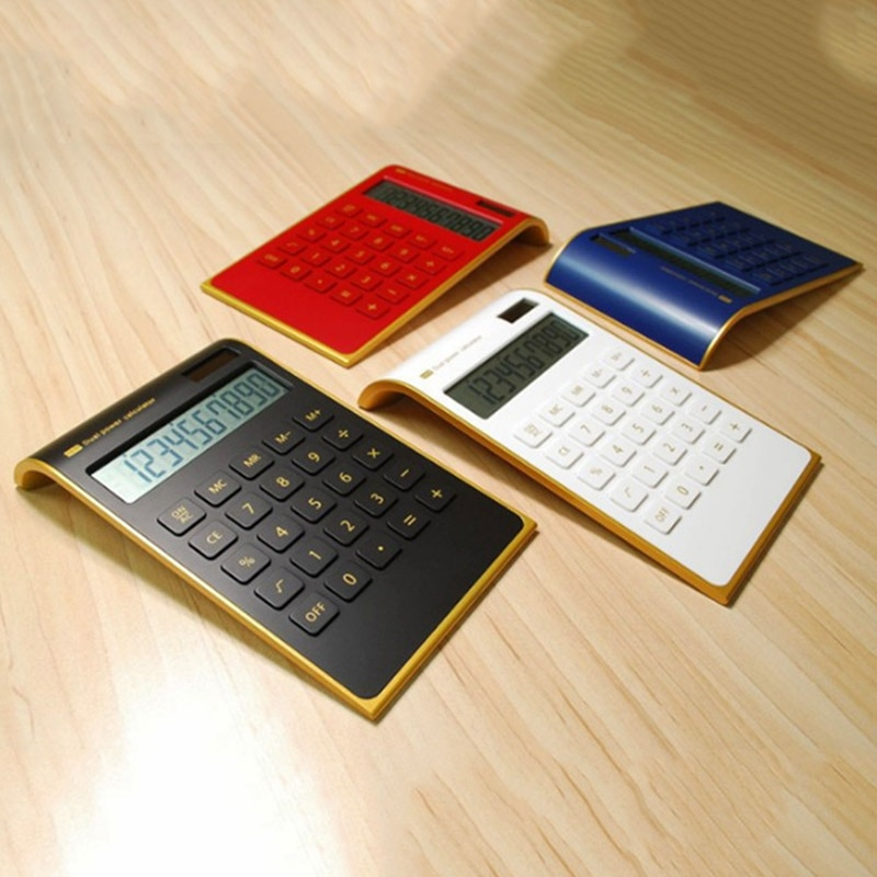 Gran oferta, minicalculadora digital portátil delgada creativa, 10, energía Solar, cristal, teclado, suministro de Doble potencia