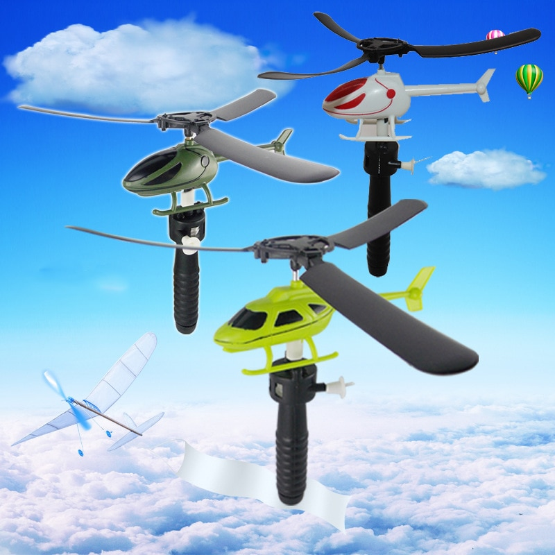 New Educational Toy Helicopter Outdoor Games Handle Pulle Gift For Children Toys Pull String