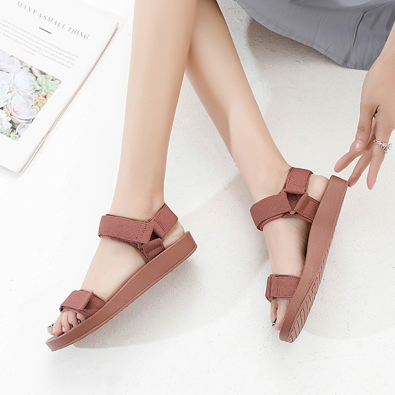 AliExpress - Casual Women Flat Sandals Beach Shoes Summer 2021 Outdoor Holiday Soft Comfortable Platform Ladies Sandals Black Breathable