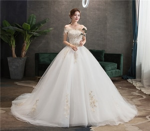 Real Photo Lace Embroidered Organza Tulle Boat Neck Off Shoulder Fashion 100cm Long Train Wedding Dress Brides Plus Size 75