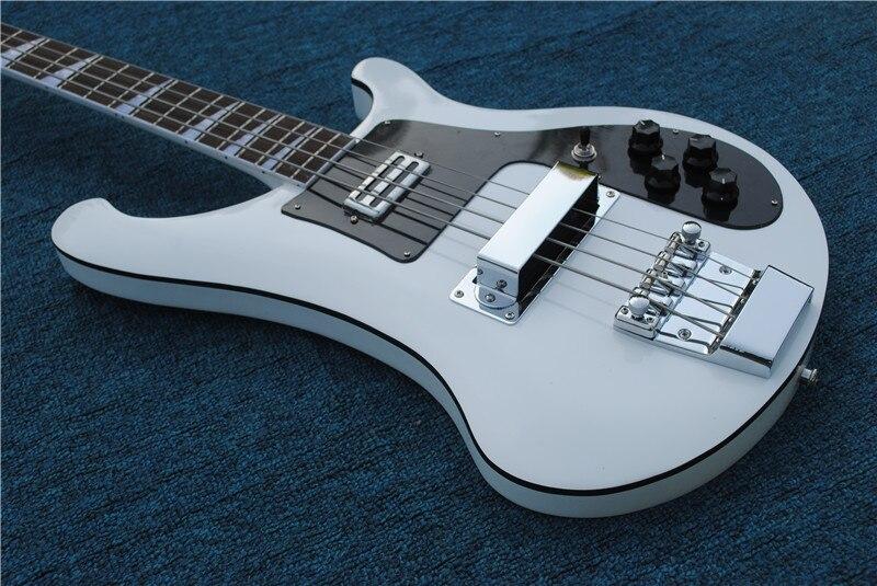 Guitarra eléctrica de alta calidad 2019, Ricken 4003-4 Cuerdas bajo guitarra, pintura blanca, envío gratis