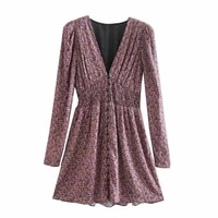 ladies elegant v neck printed waist dress for womens 2021 new spring summer long sleeve small floral all match mini dresses