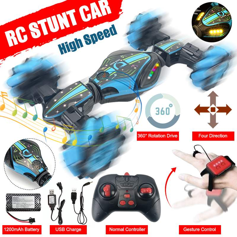 2 In 1 Stunt Car Gesture Sensing Stunt Remote Control Car 360 Twisting Off-Road Vehicle with Drift L