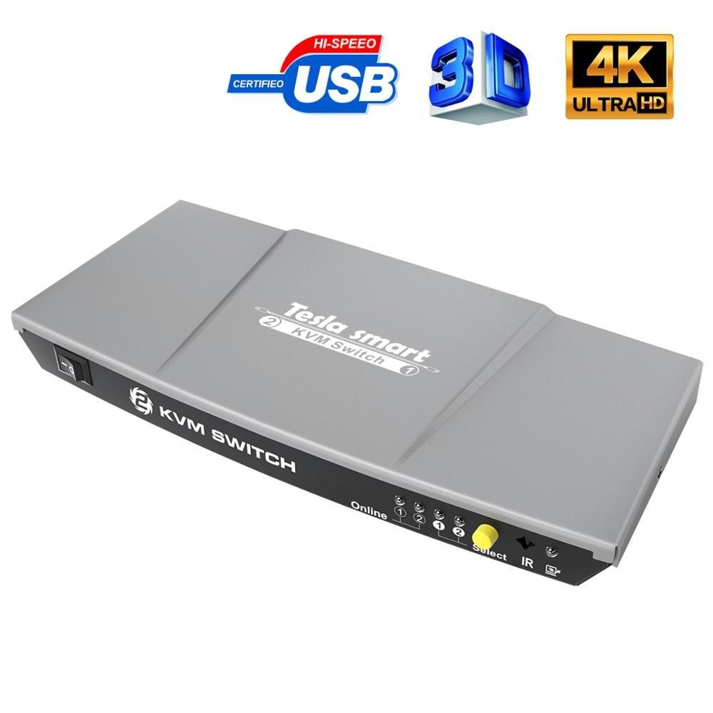 KVM interruptor 2 puertos HDMI USB2.0 4K @ 30Hz HDMI interruptor de 2x1 KVM 2 en 1 conmutador de salida KVM HDMI compartir 2 uds apoyo 3D EDID control remoto IR