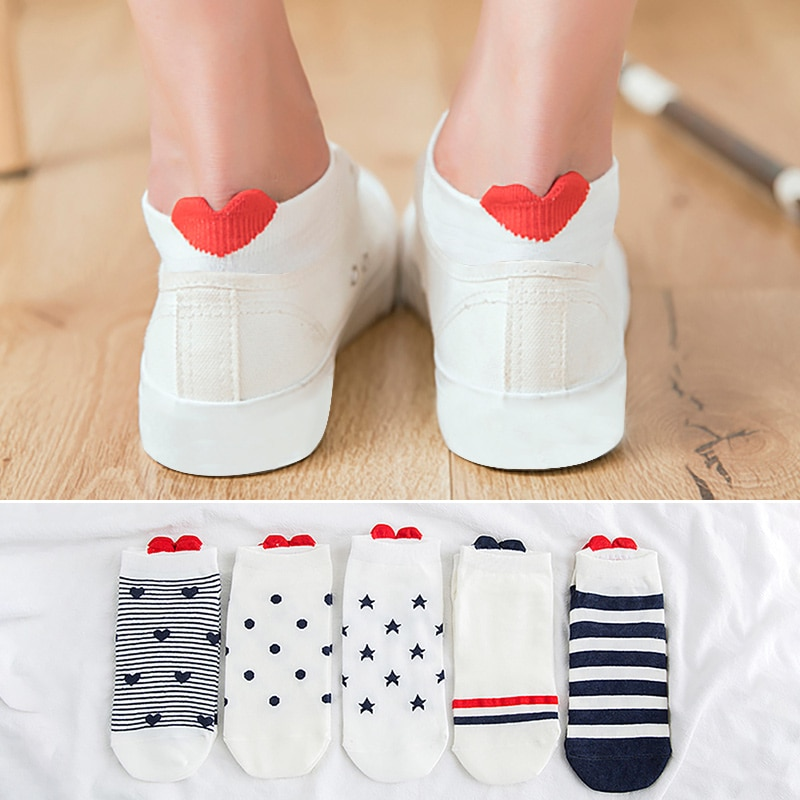 5Pairs New Arrivl Women Cotton Socks Pink Cute Cat Ankle Socks Short Socks Casual Animal Ear Red Heart wholesale