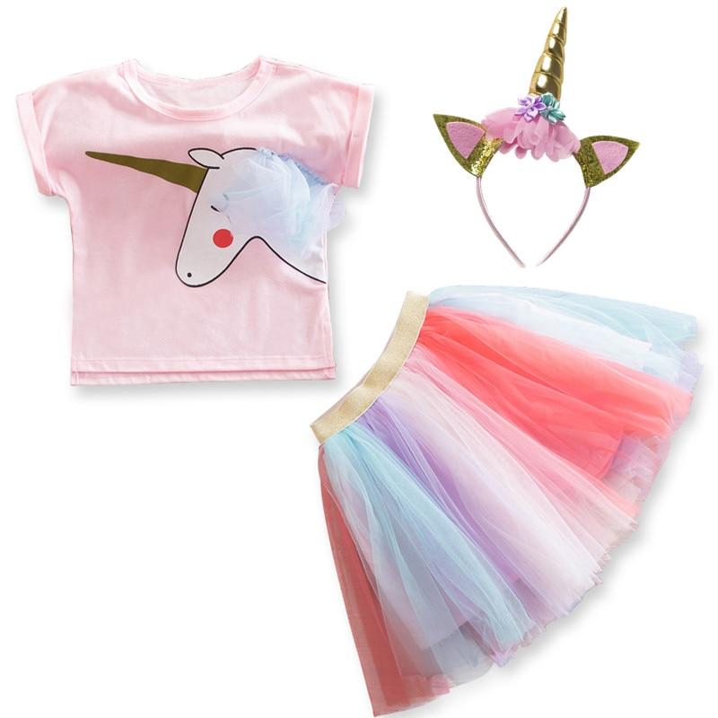 Unicorn Dress for Girls Children's Clothes Kids Rainbow Tulle Dresses Baby Girls Party Costume Summer Princess Dress Vestidos