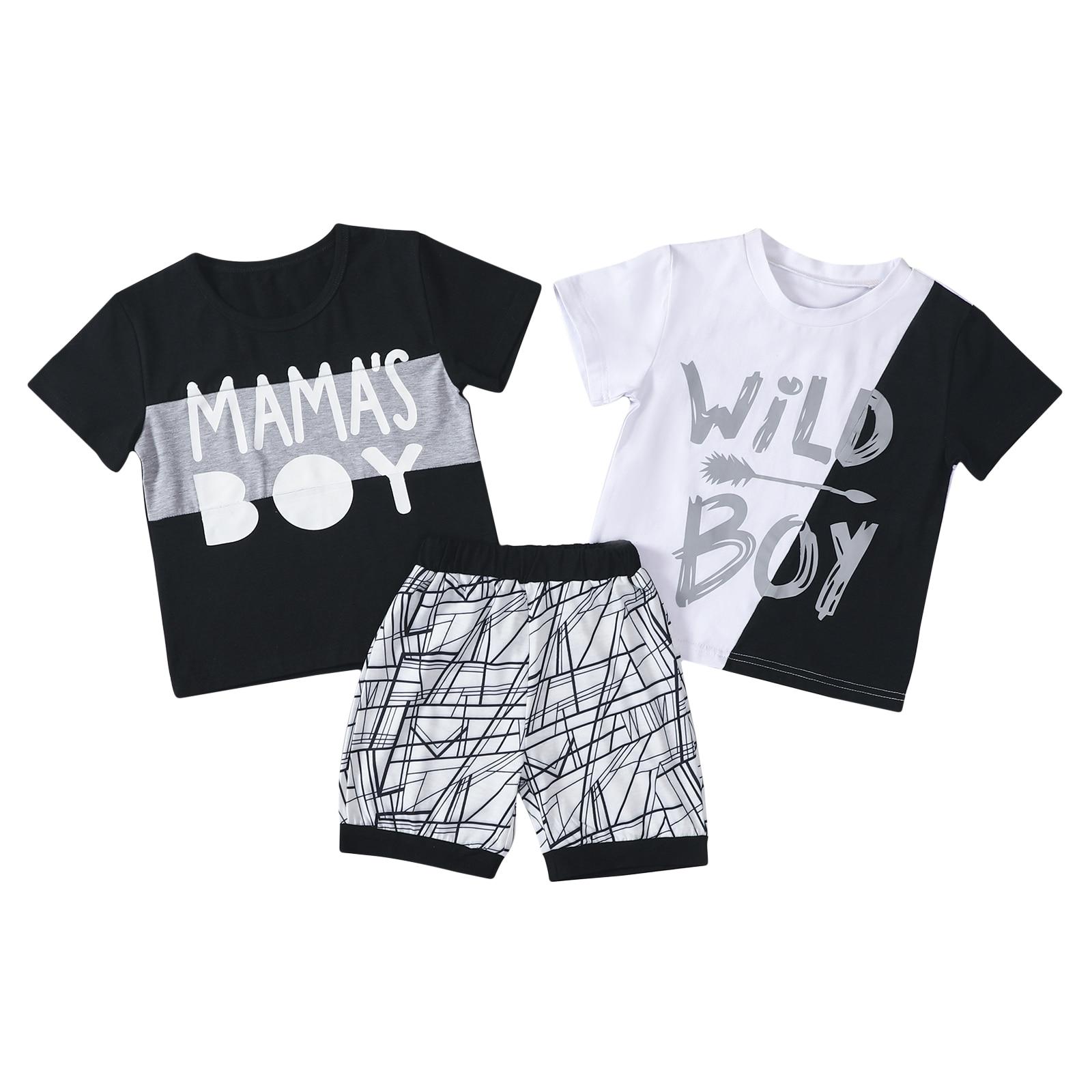 Комплект одежды для маленьких мальчиков, футболка с коротким рукавом и круглым вырезом с буквенным принтом + шорты с эластичным поясом