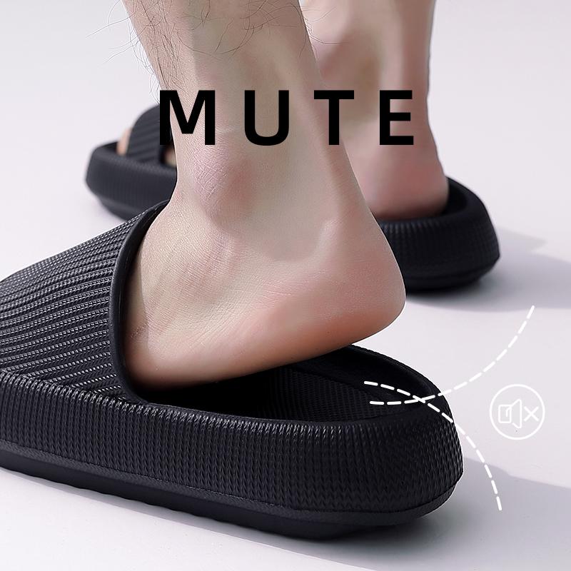 Fashion Men Slippers Thick Platform Slippers Mute EVA Soft Indoor Home Slides Non-slip Summer Beach Sandals Women Bathroom Shoes