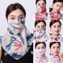 Summer scarf Breathable Anti-dust Sunscreen Masks Women Chiffon Mask Scarf Face Wraps Floral Print S