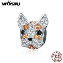 WOSTU Authentic 925 Sterling Silver Pet Dog Head Beads Fit Original Bracelet Pendant Clear Zircon Charms DIY Jewelry CTC166