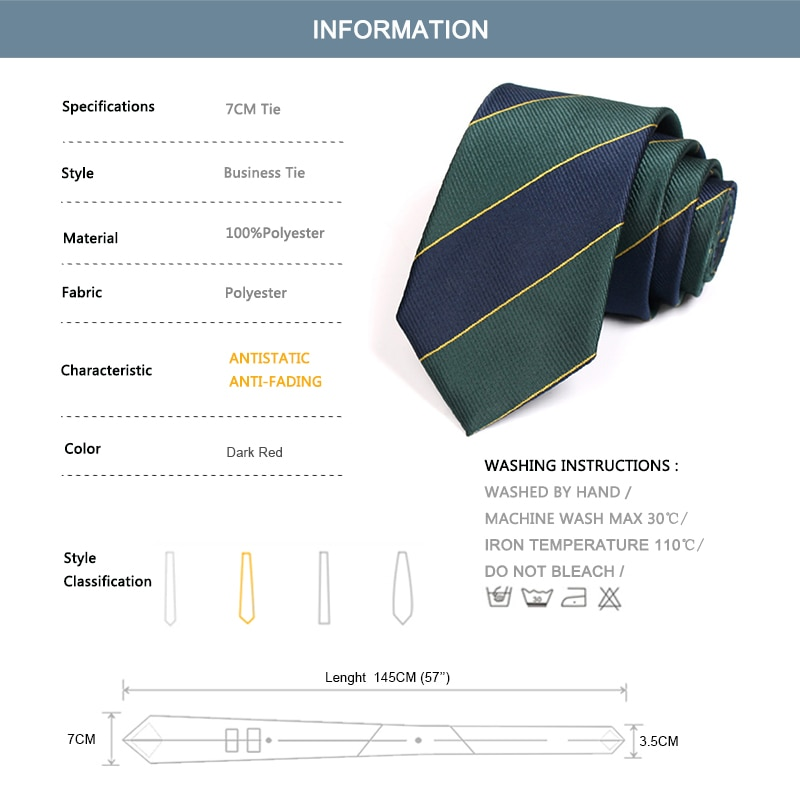 Brand New Classic Striped Green 7CM Ties For Men Business Suit Work Necktie Male Fashion Formal Cravate With Gift Box