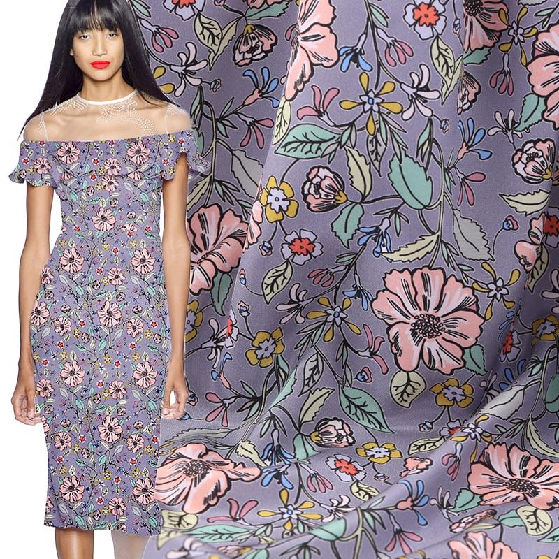 19 sommer Neue Digital Print Crepe De Chine Marke Stoff Kleid 114cm Breite 16momme Mode Tuch Diy Seiwng freies Verschiffen Verkauf