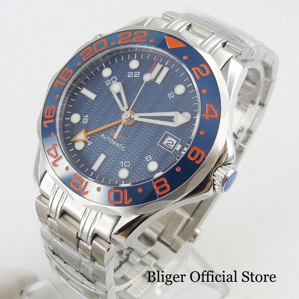2019 New Automatic Men's Watch Sapphire Crystal 41mm Self Winding Wristwatch Date Window GMT Function Mental Strap