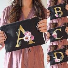 Druhna torebki na makijaż kwiatowy nadruk z alfabetem kosmetyczka wesele torba na przybory do makijażu niezbędne Lady torba materiałowa prezenty ślubne