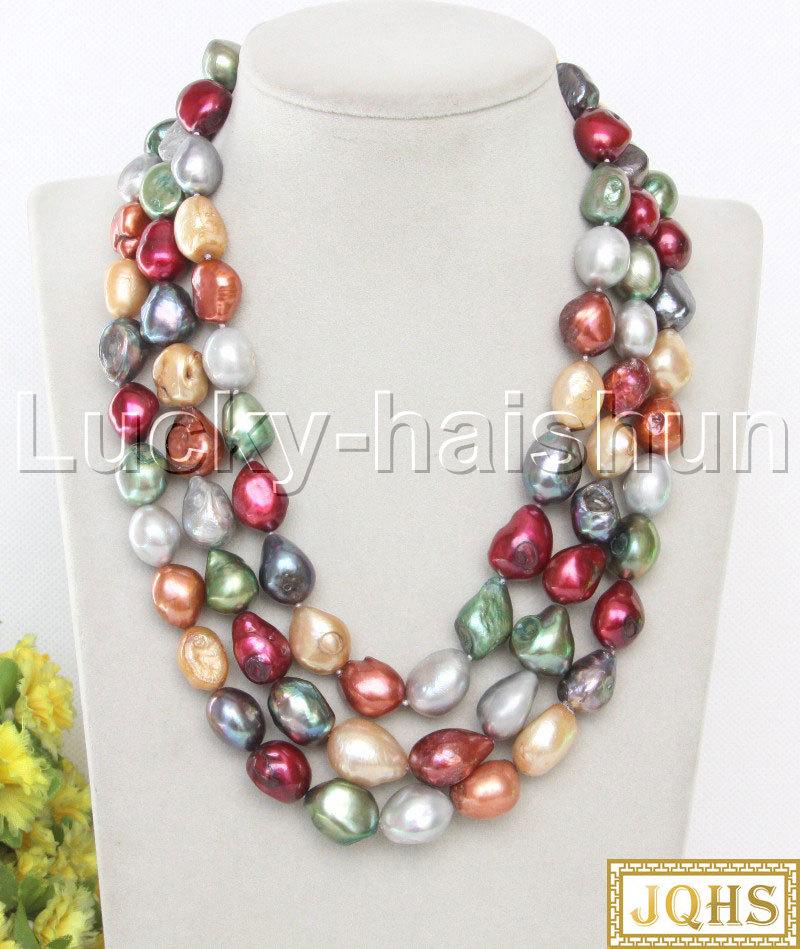 "JQHS 16 ""3row 17mm collar Multicolor de perlas de agua dulce Cierre de concha de mar j13105"