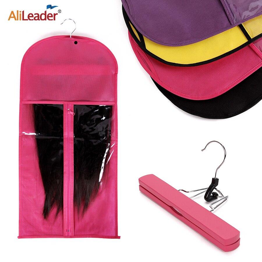 Alileader розовый черный мешок для волос с держателем для хранения париков для шиньонов нетканые прозрачные Аксессуары для париков сумка для хранения париков