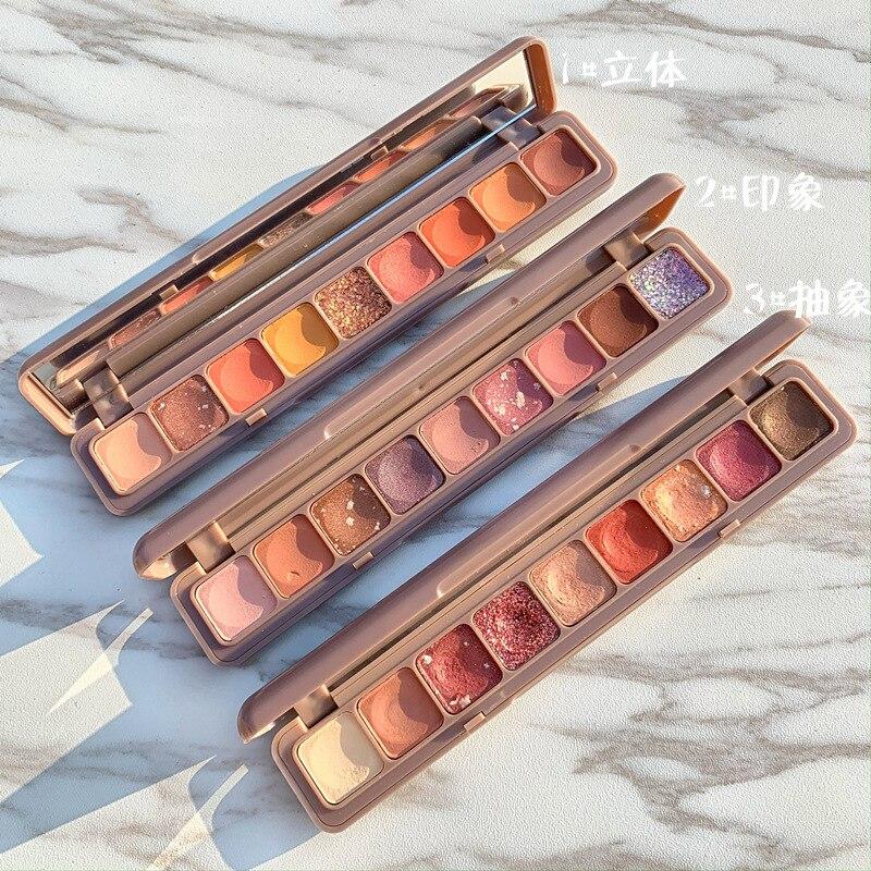 Nine-color fingertip eyeshadow palette pearlescent matte waterproof makeup lasting beauty 9-color keyboard eye shadow недорого