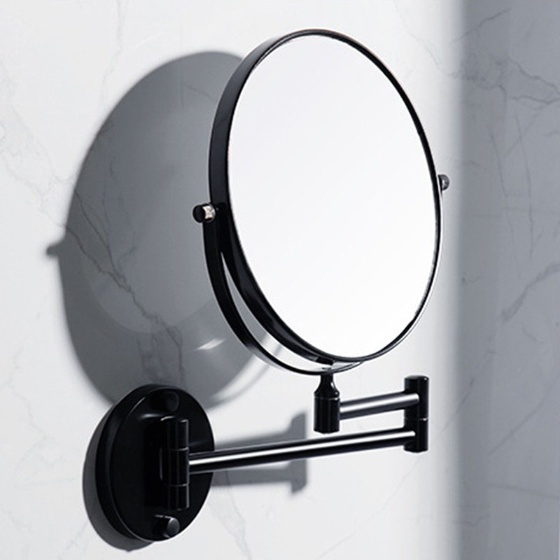 bathroom mirror antique red copper double side make up mirror dressing room round magnifying cosmetic mirror wall mounted nba631 Bathroom Beauty Mirror Bathroom Black Mirror Wall-mounted Makeup Mirror Folding Magnifying Glass Wall-mounted Mirrors