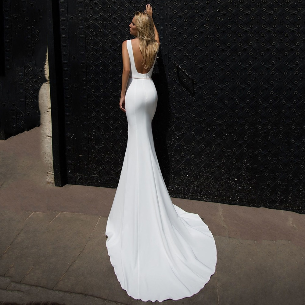 Promo Elegant Simple Mermaid Wedding Dress Ivory Satin Square Neck With Belt Bridal Gowns Sexy Backless Brides Dresses Sweep Train New