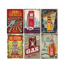 Plaque décorative murale Vintage   Station de gaz, plaque en métal, signes Vintage, Bar Pub Oil Garage, rétro décoration de la maison 20*30cm