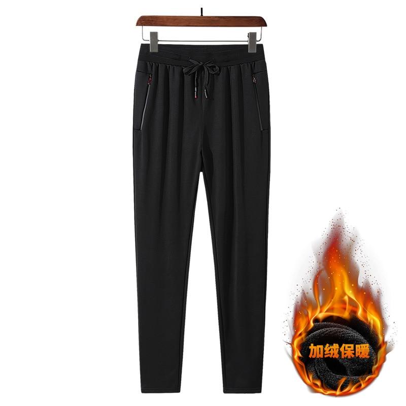 8XL зимние мужские спортивные штаны из плотного флиса, теплые свободные спортивные штаны с карманами на молнии, мужские спортивные штаны для ...