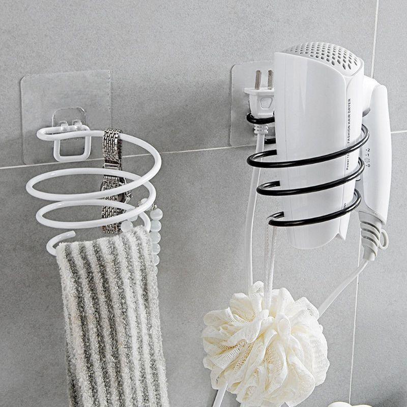 Adhesive Wall Mounted Metal Hair Dryer Holder Spiral Hairdryer Hanging Rack Blower Organizer Shelf For Bathroom Barber 10166