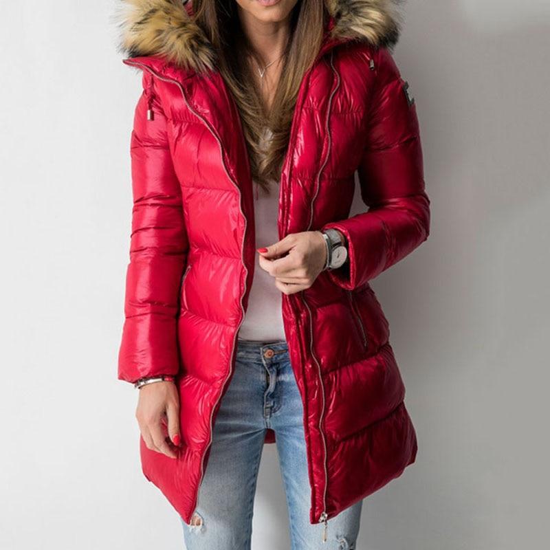 Winter Down Jacket Coat Women Parkas Warmness Cotton Padded Overcoat PU Fashion Basic Coats Black Long Outwear Women's Clothes